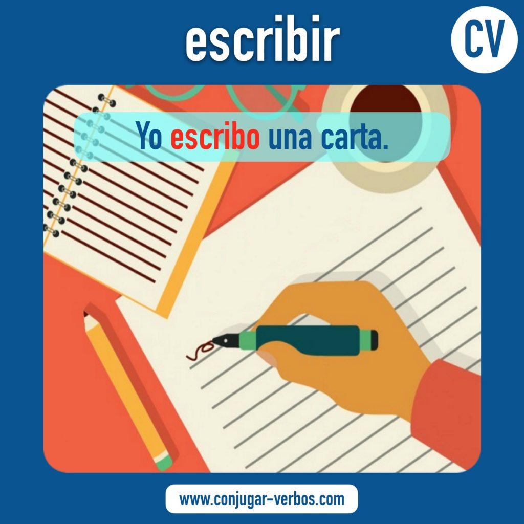verbo escribir | escribir | imagen del verbo escribir | conjugacion del verbo escribir