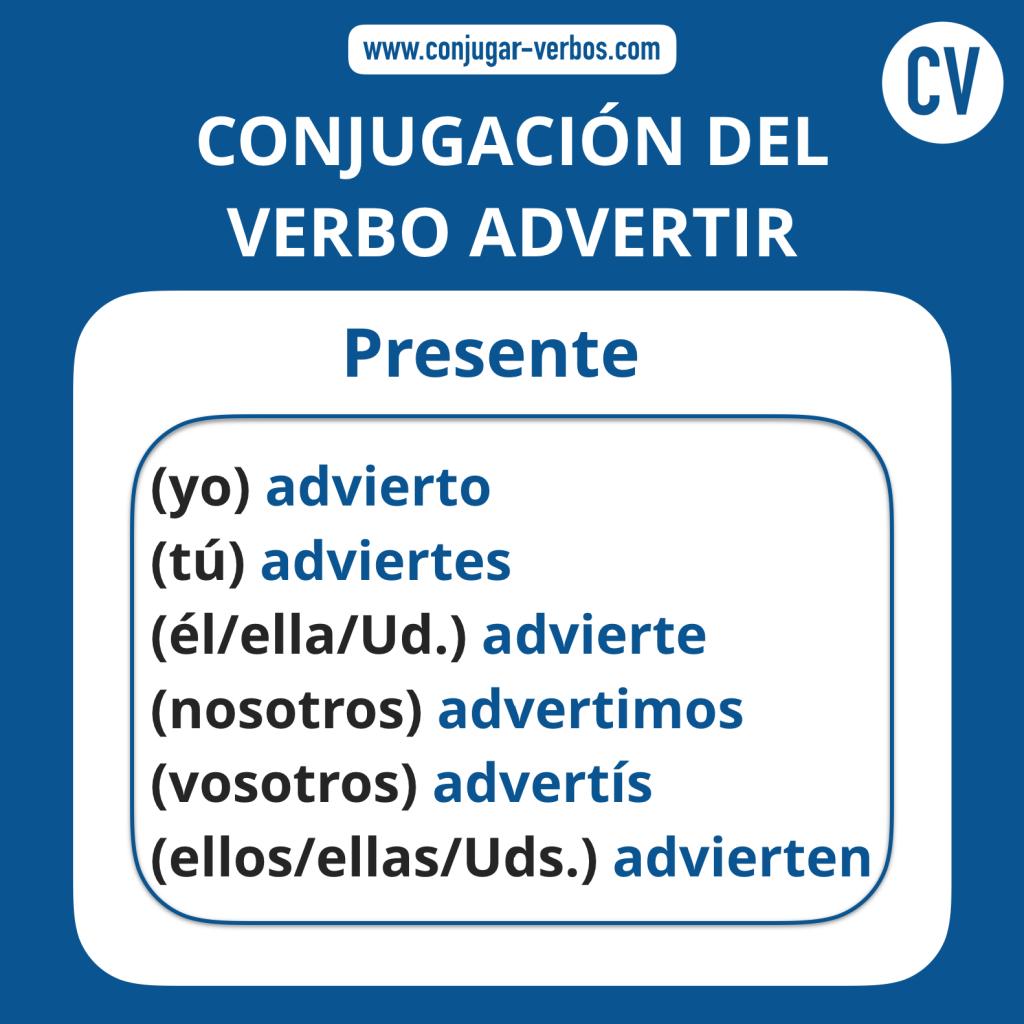 Conjugacion del verbo advertir   Conjugacion advertir