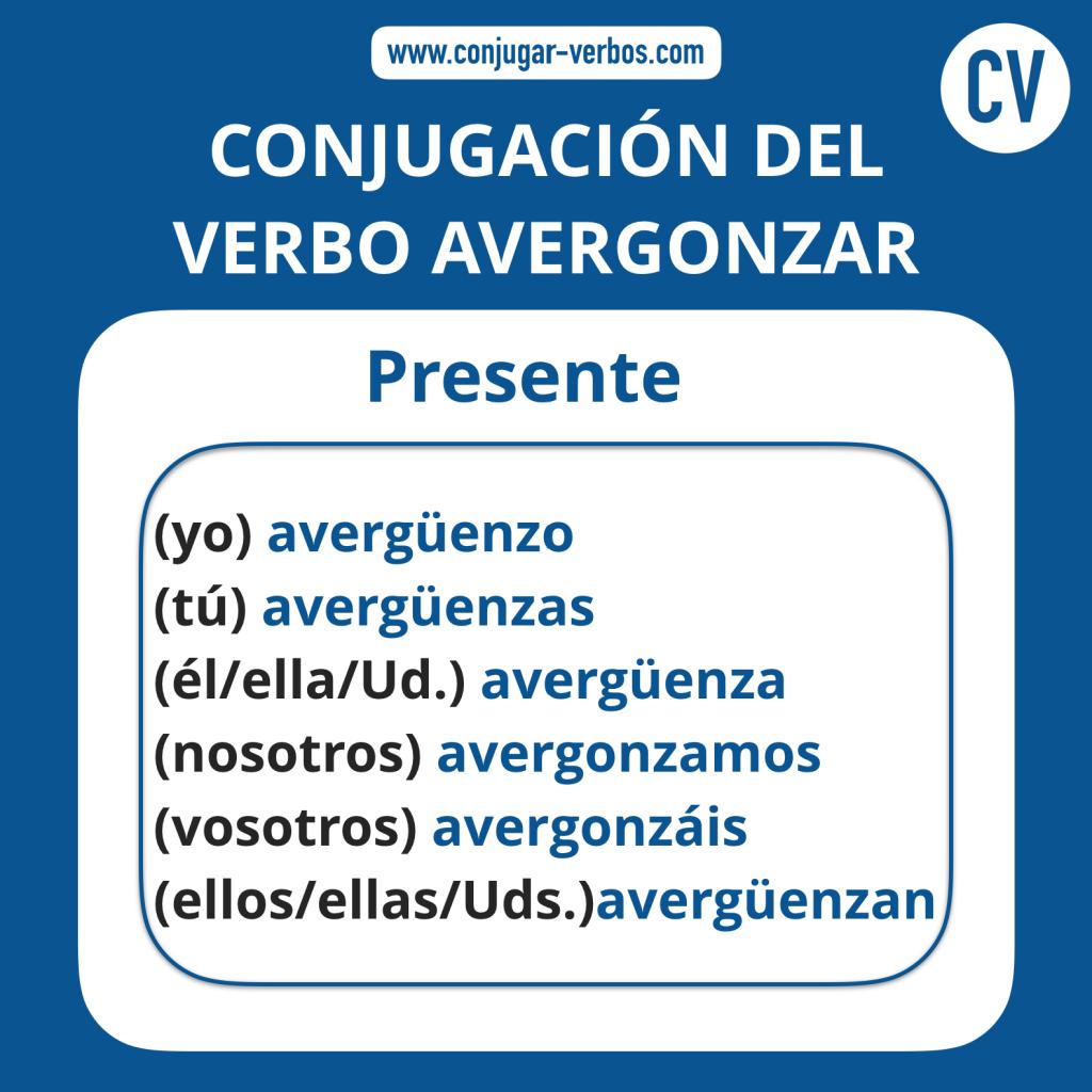 Conjugacion del verbo avergonzar | Conjugacion avergonzar