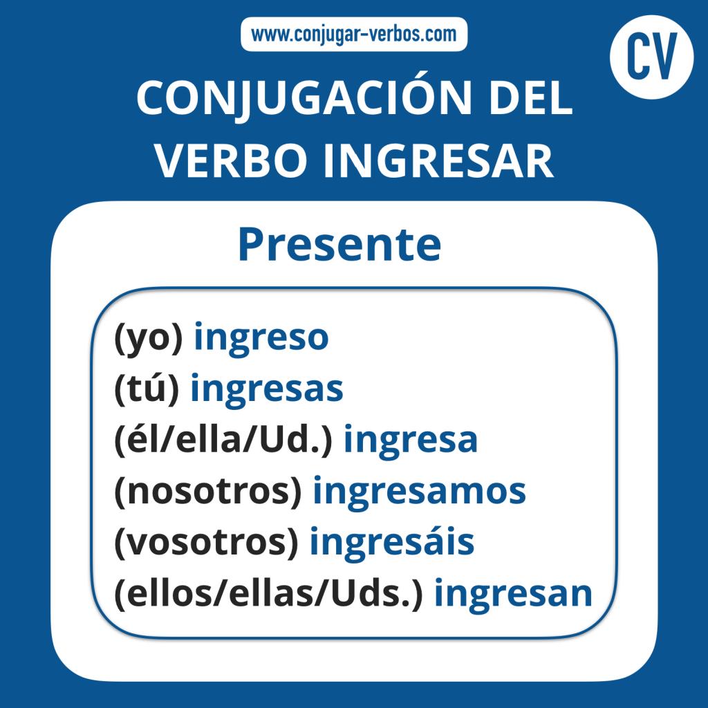 Conjugacion del verbo ingresar | Conjugacion ingresar
