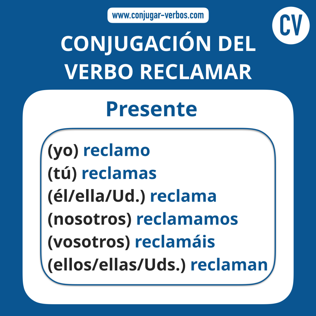 Conjugacion del verbo reclamar   Conjugacion reclamar