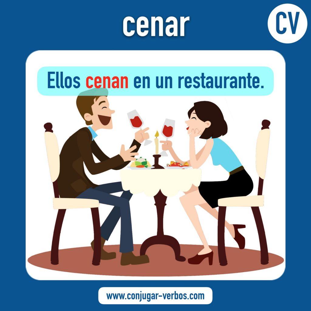 verbo cenar | cenar | imagen del verbo cenar | conjugacion del verbo cenar