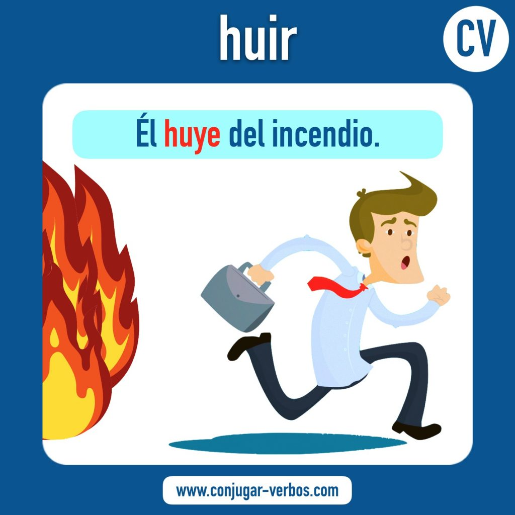 verbo huir | huir | imagen del verbo huir | conjugacion del verbo huir