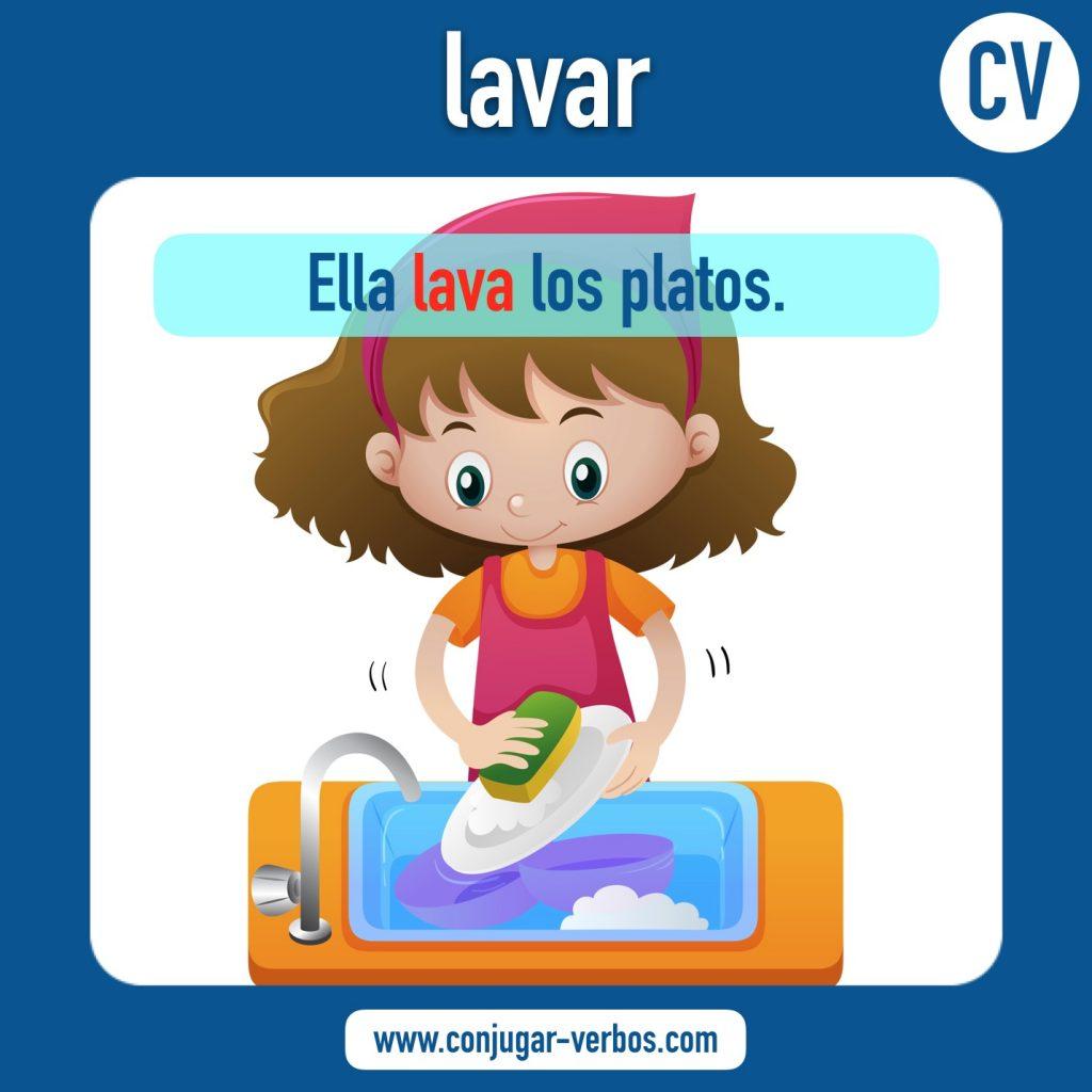 verbo lavar | lavar | imagen del verbo lavar | conjugacion del verbo lavar