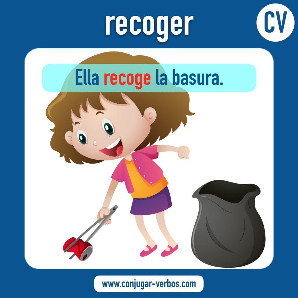 verbo recoger | recoger | imagen del verbo recoger | conjugacion del verbo recoger