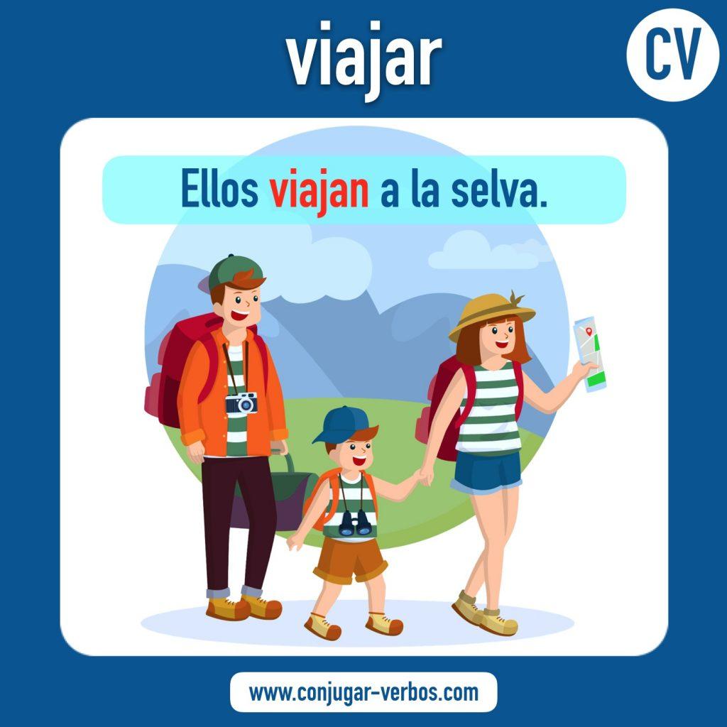 verbo viajar | viajar | imagen del verbo viajar | conjugacion del verbo viajar